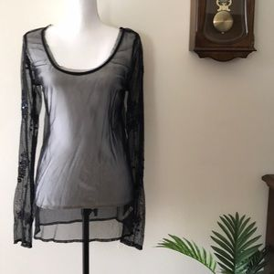 Free People Black Beaded Sheer Top Cover Up L NWT